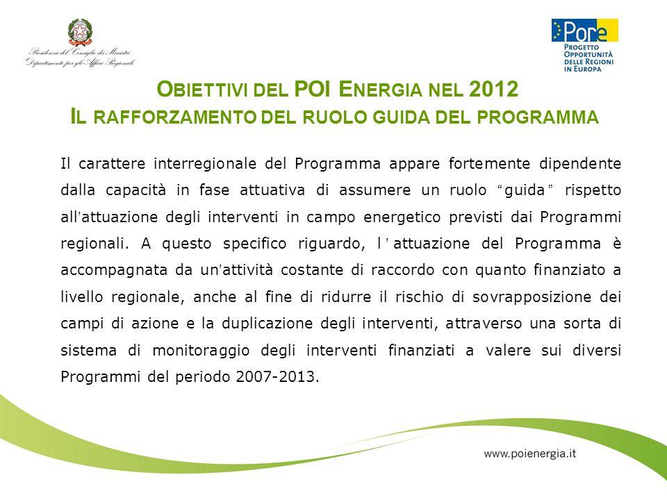 Obiettivi del POI Energia nel 2012 Il rafforzamento del ruolo guida del programma