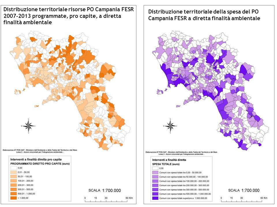 Distribuzione territoriale delle risorse PO Campania FESR 2007-2013 programmate, a diretta finalità ambientale