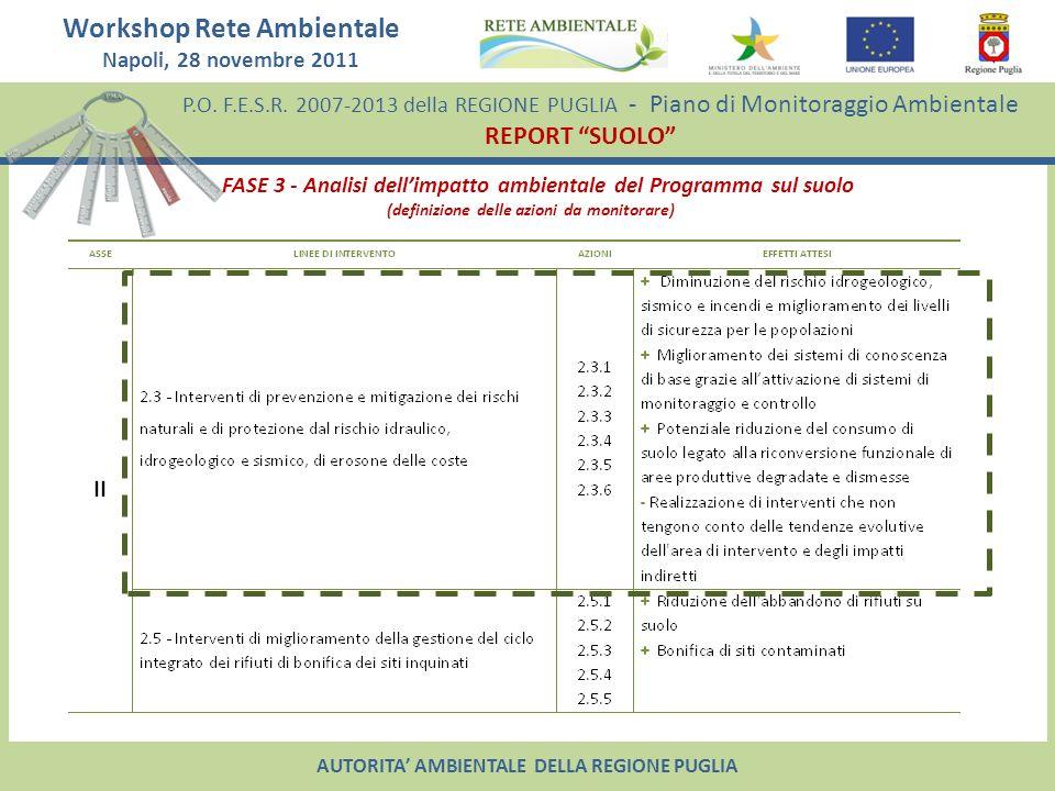 FASE 3 - Analisi dell'impatto ambientale del Programma sul suolo