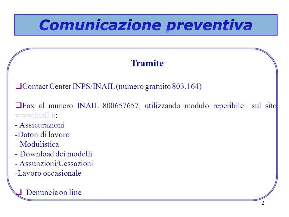 Comunicazione preventiva