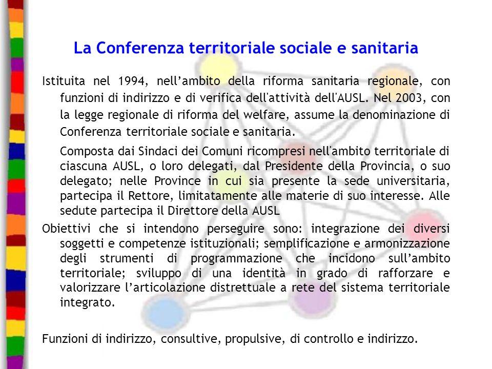 La Conferenza territoriale sociale e sanitaria