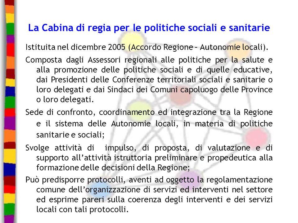 La Cabina di regia per le politiche sociali e sanitarie