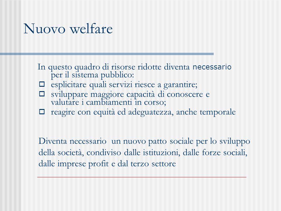 Nuovo welfare In questo quadro di risorse ridotte diventa necessario