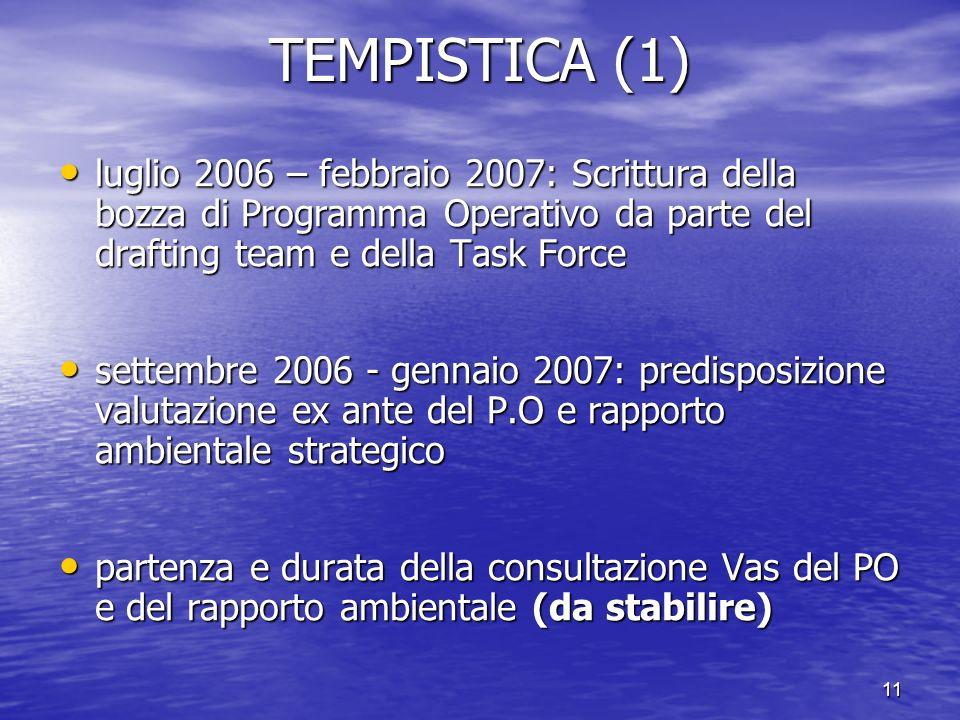 TEMPISTICA (1) luglio 2006 – febbraio 2007: Scrittura della bozza di Programma Operativo da parte del drafting team e della Task Force.