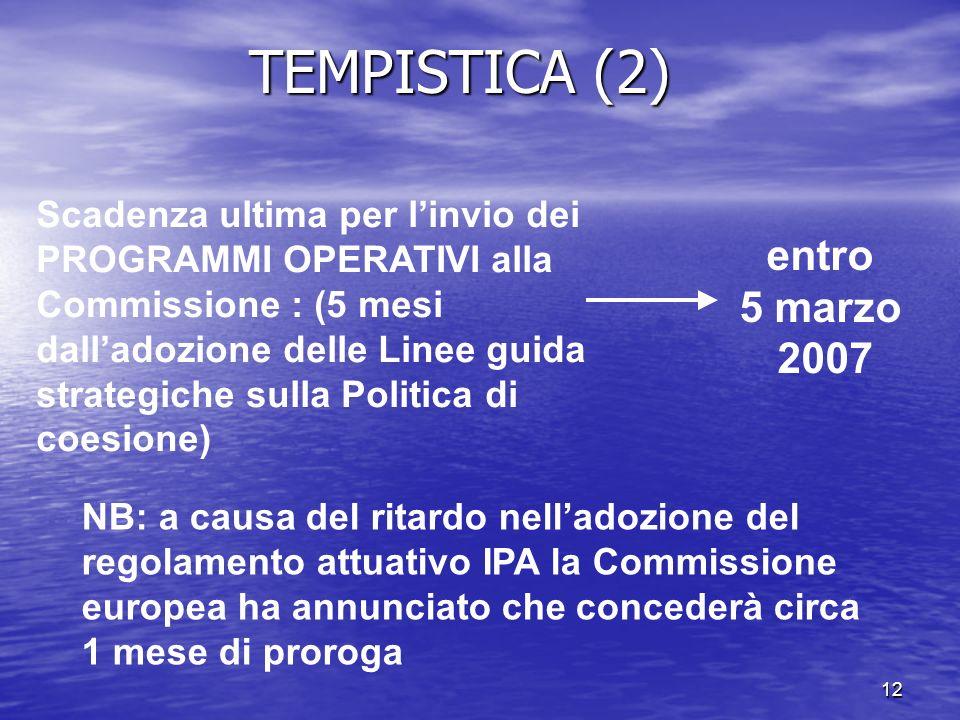TEMPISTICA (2) entro 5 marzo 2007