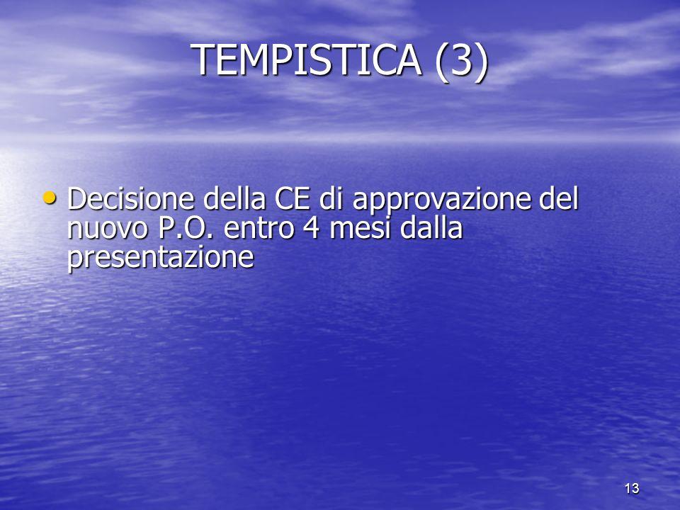 TEMPISTICA (3) Decisione della CE di approvazione del nuovo P.O. entro 4 mesi dalla presentazione