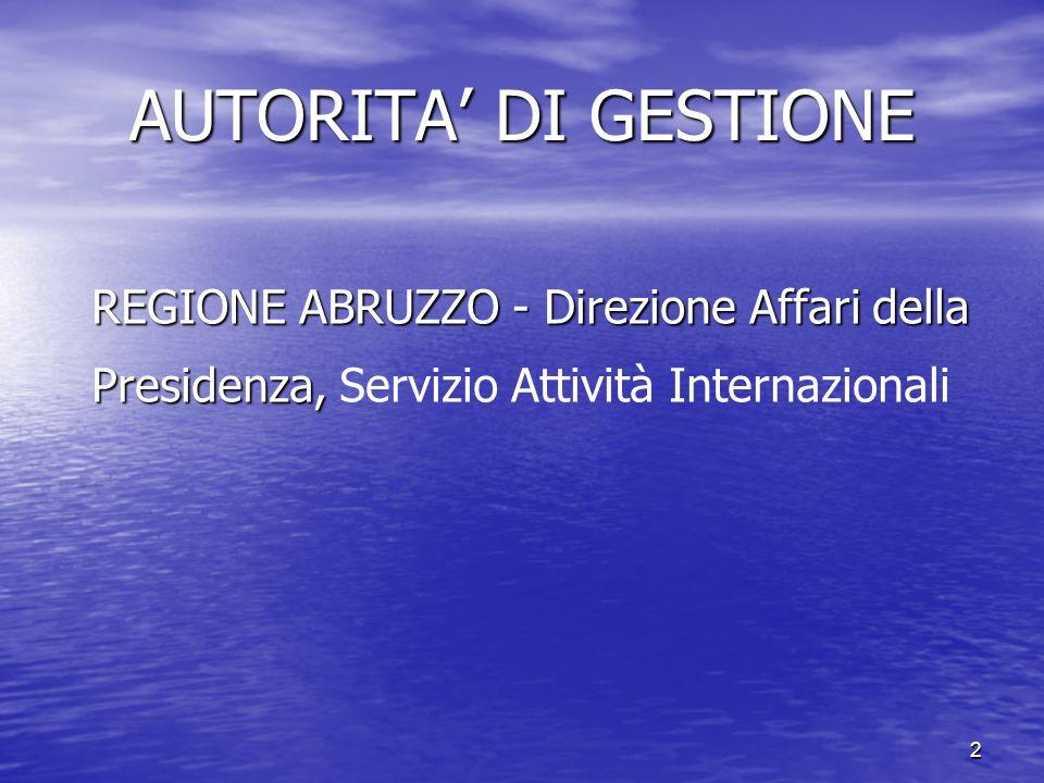 AUTORITA' DI GESTIONE REGIONE ABRUZZO - Direzione Affari della