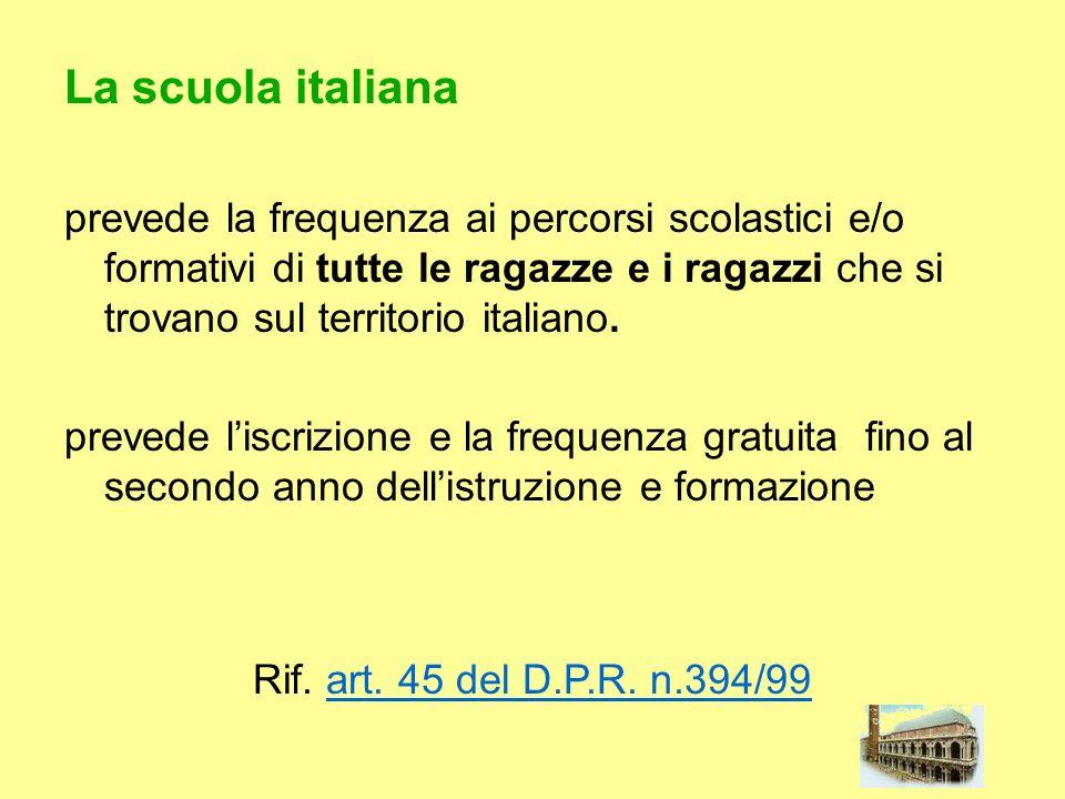 La scuola italiana prevede la frequenza ai percorsi scolastici e/o formativi di tutte le ragazze e i ragazzi che si trovano sul territorio italiano.