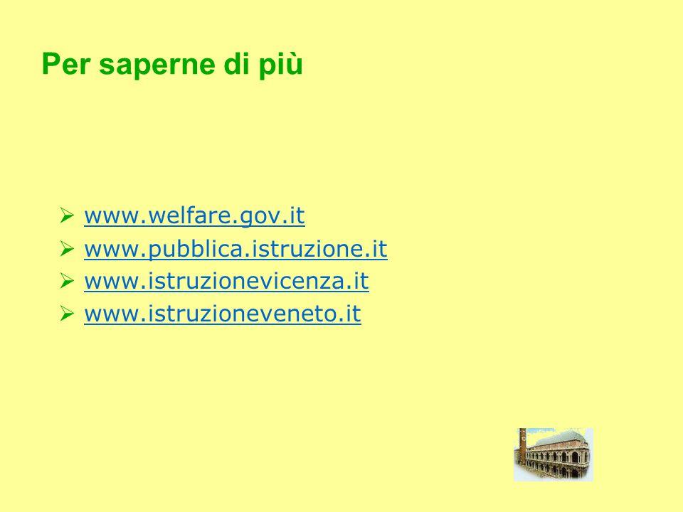 Per saperne di più www.welfare.gov.it www.pubblica.istruzione.it
