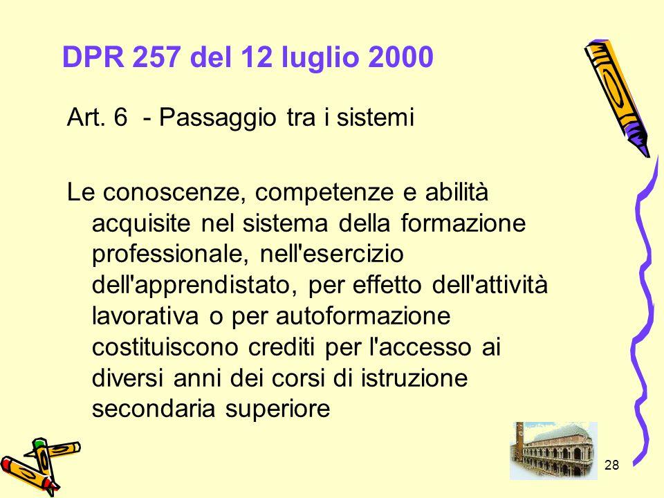 DPR 257 del 12 luglio 2000 Art. 6 - Passaggio tra i sistemi