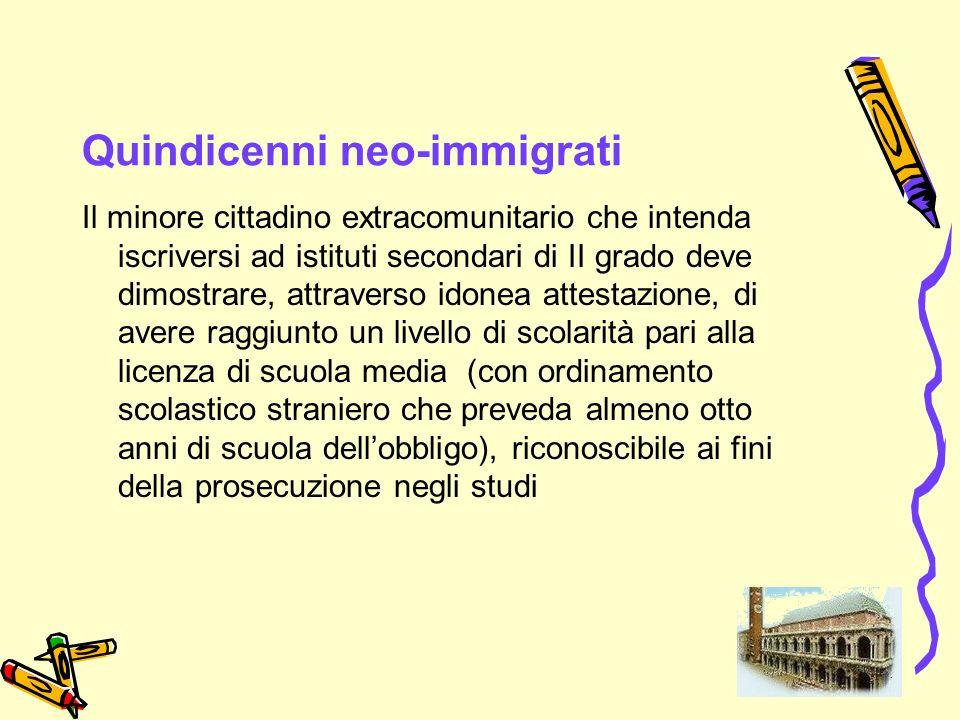 Quindicenni neo-immigrati