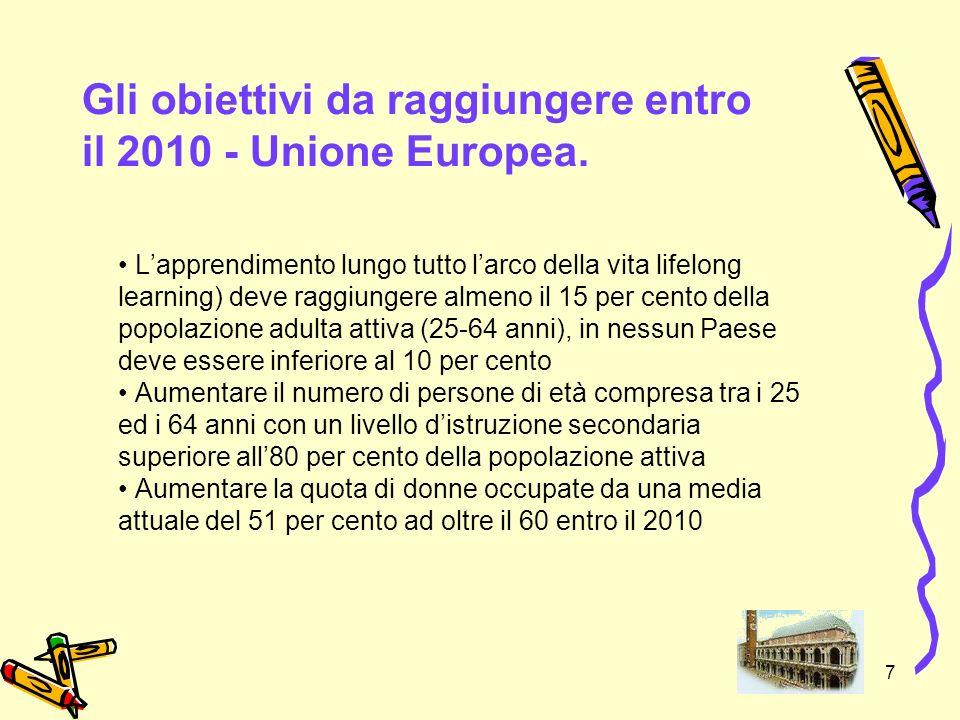 Gli obiettivi da raggiungere entro il 2010 - Unione Europea.