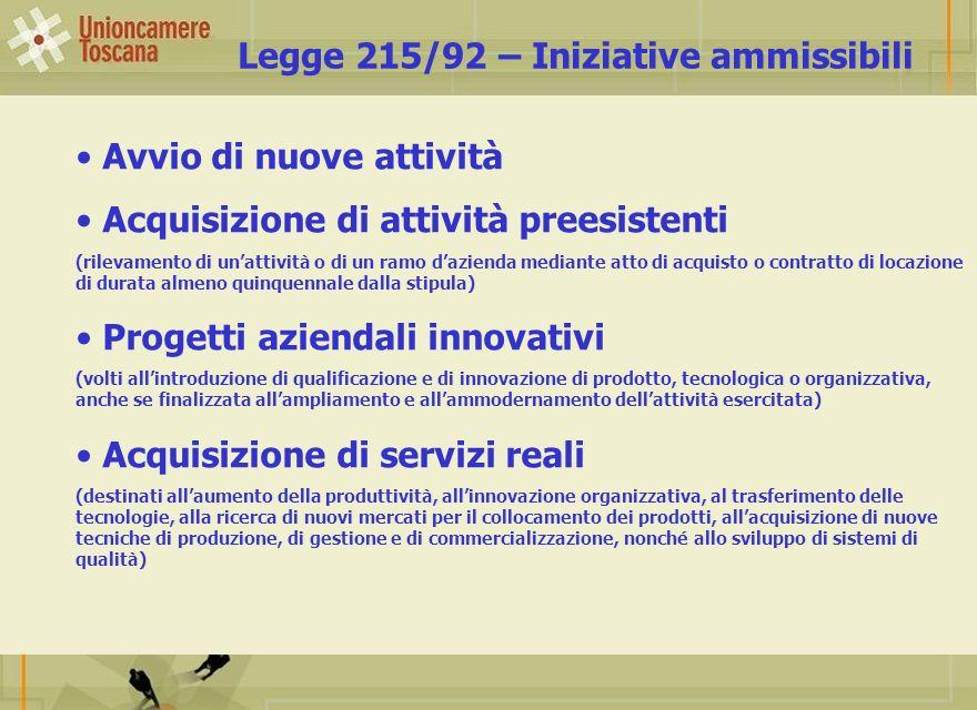 Legge 215/92 – Iniziative ammissibili