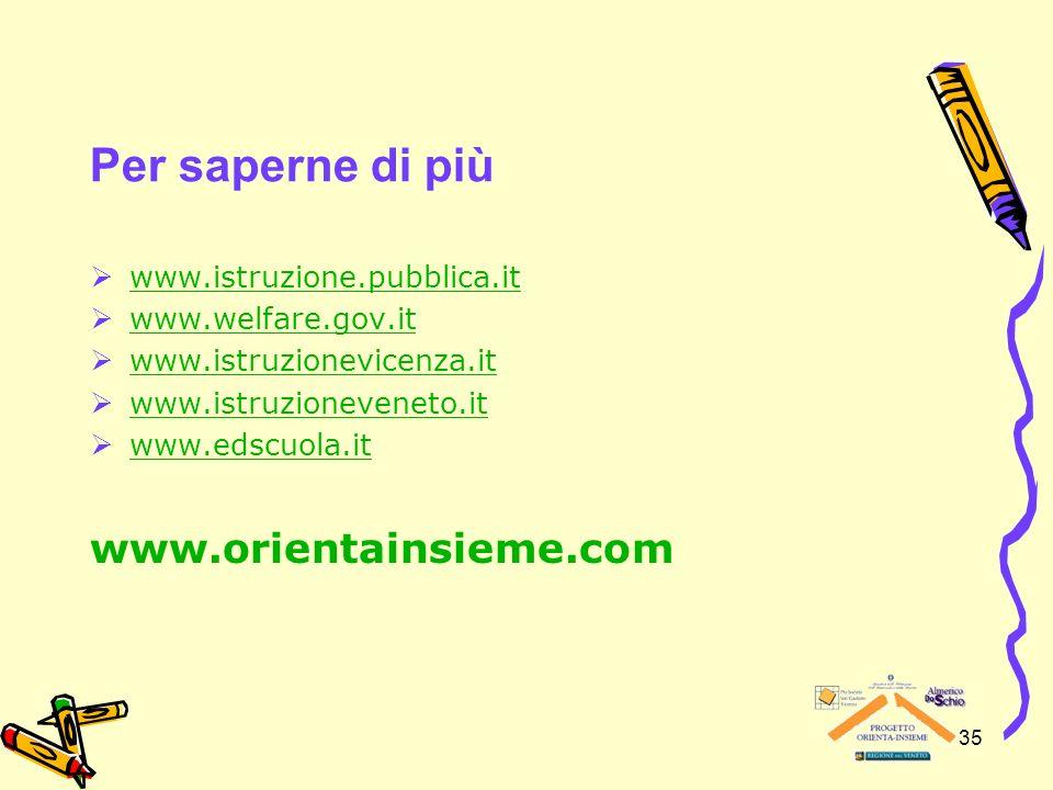 Per saperne di più www.orientainsieme.com www.istruzione.pubblica.it