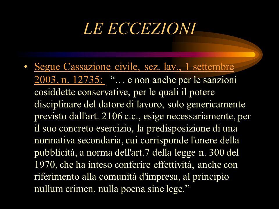 LE ECCEZIONI