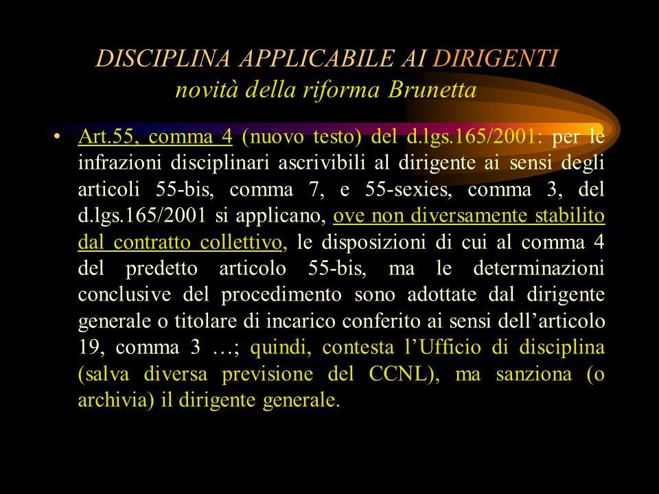 DISCIPLINA APPLICABILE AI DIRIGENTI novità della riforma Brunetta