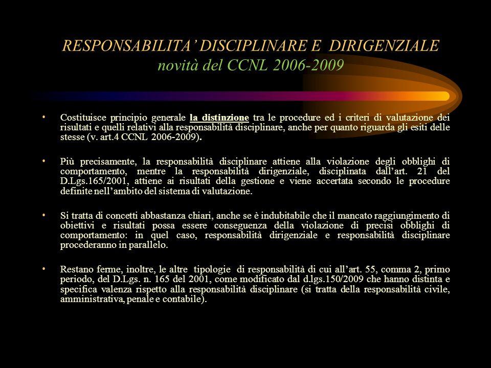 RESPONSABILITA' DISCIPLINARE E DIRIGENZIALE novità del CCNL 2006-2009