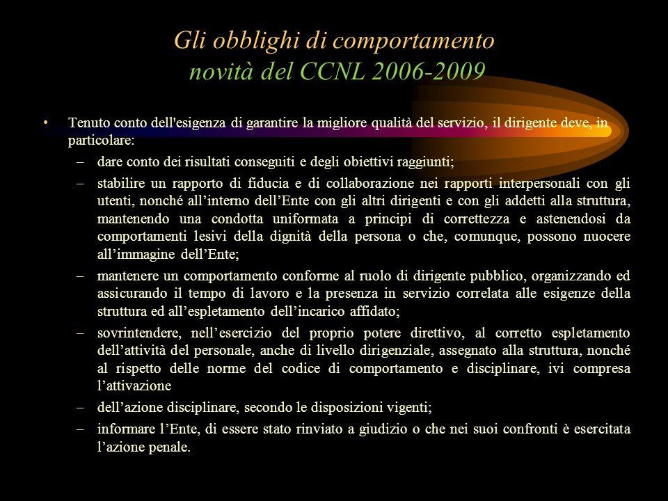 Gli obblighi di comportamento novità del CCNL 2006-2009