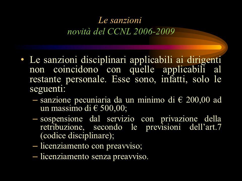Le sanzioni novità del CCNL 2006-2009