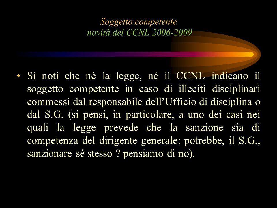 Soggetto competente novità del CCNL 2006-2009