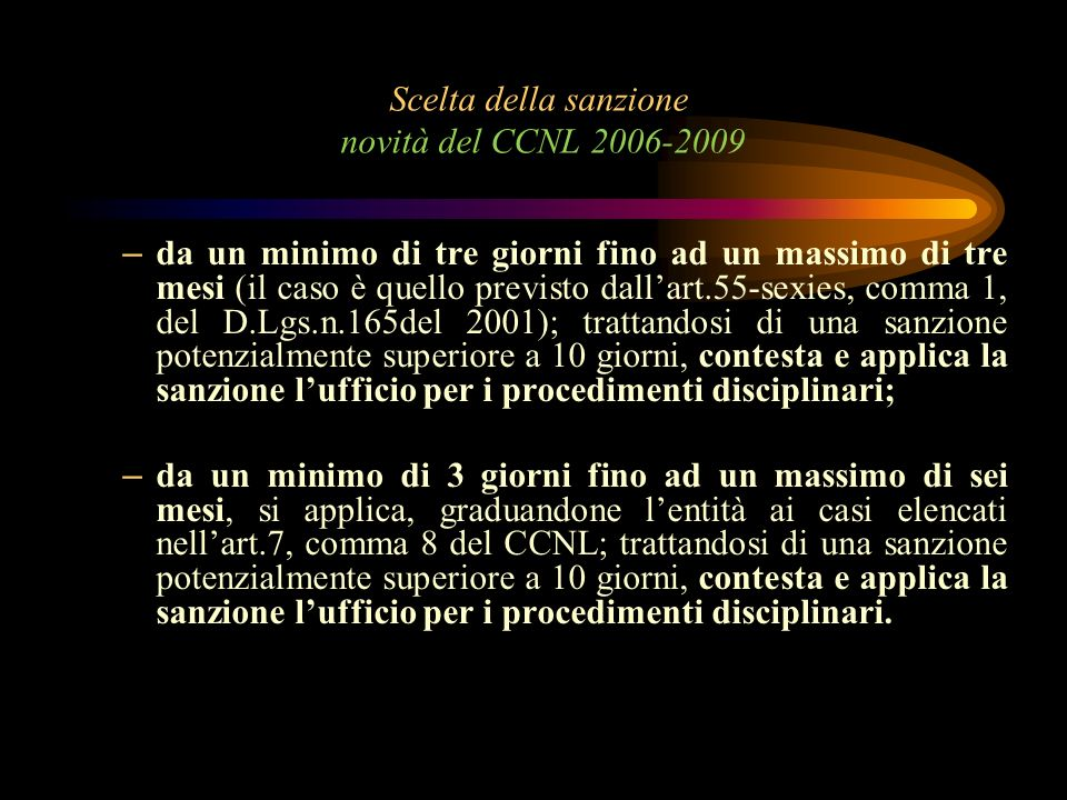 Scelta della sanzione novità del CCNL 2006-2009