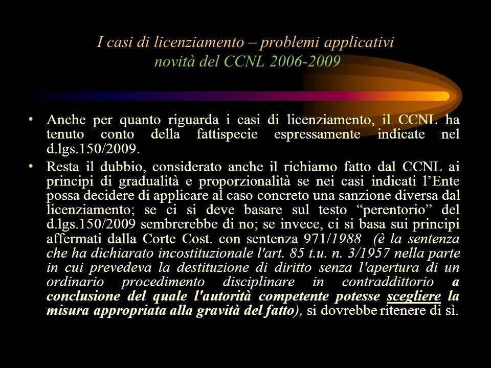 I casi di licenziamento – problemi applicativi novità del CCNL 2006-2009