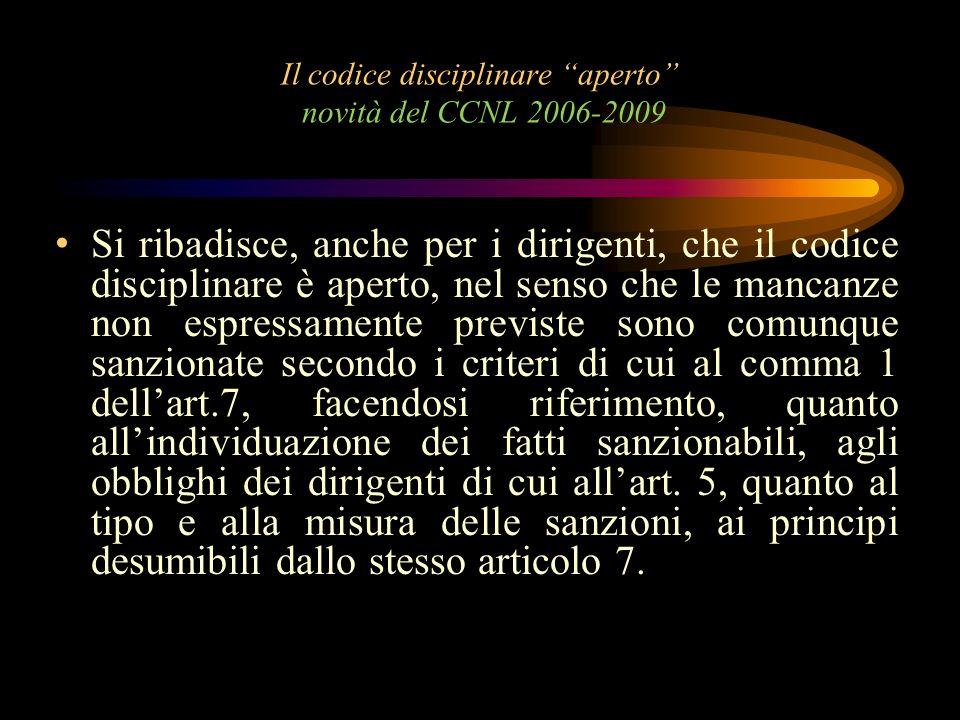 Il codice disciplinare aperto novità del CCNL 2006-2009