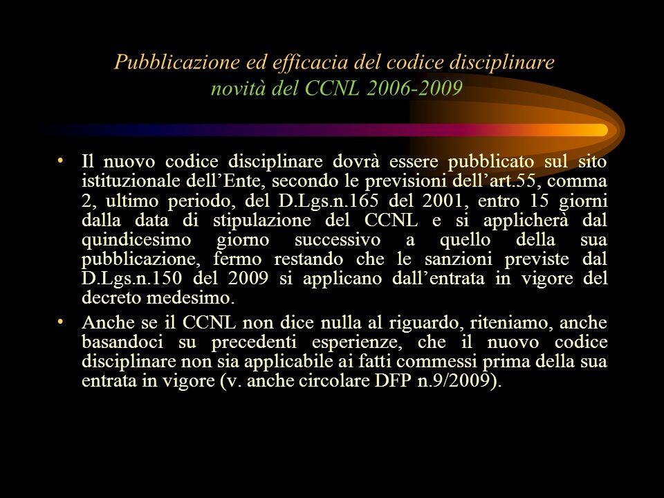 Pubblicazione ed efficacia del codice disciplinare novità del CCNL 2006-2009