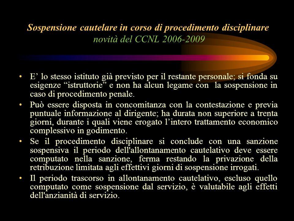 Sospensione cautelare in corso di procedimento disciplinare novità del CCNL 2006-2009