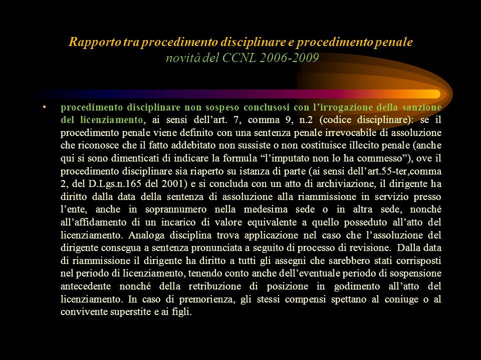 Rapporto tra procedimento disciplinare e procedimento penale novità del CCNL 2006-2009