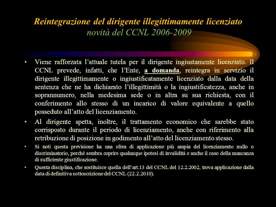 Reintegrazione del dirigente illegittimamente licenziato novità del CCNL 2006-2009