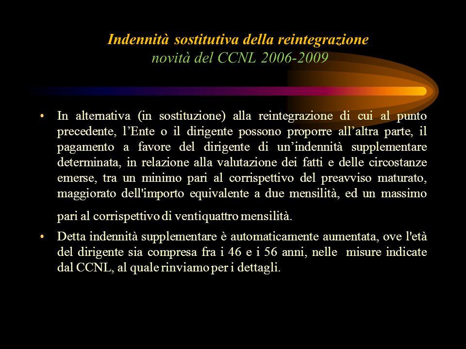 Indennità sostitutiva della reintegrazione novità del CCNL 2006-2009