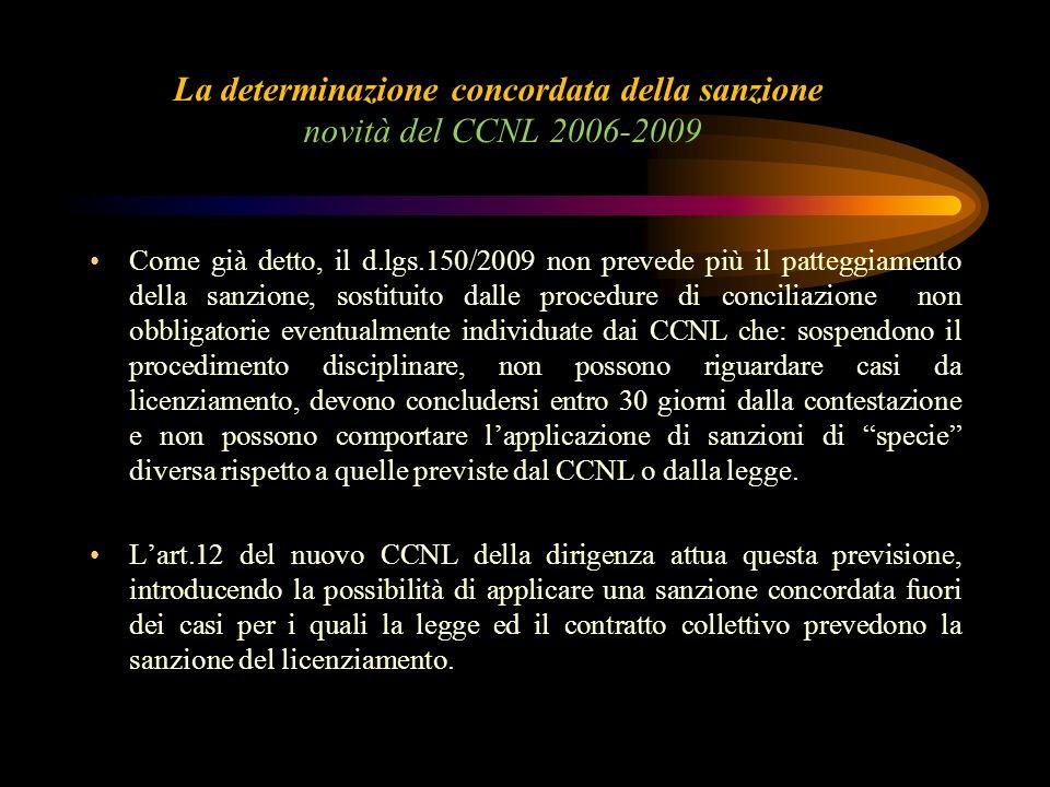 La determinazione concordata della sanzione novità del CCNL 2006-2009