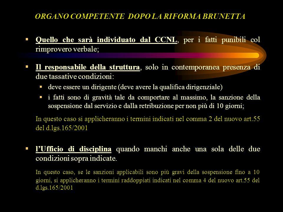 ORGANO COMPETENTE DOPO LA RIFORMA BRUNETTA