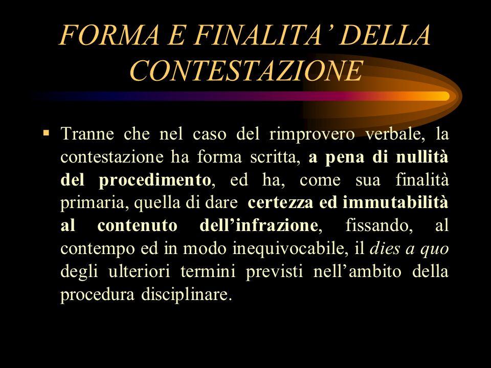 FORMA E FINALITA' DELLA CONTESTAZIONE