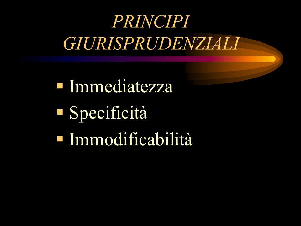 PRINCIPI GIURISPRUDENZIALI