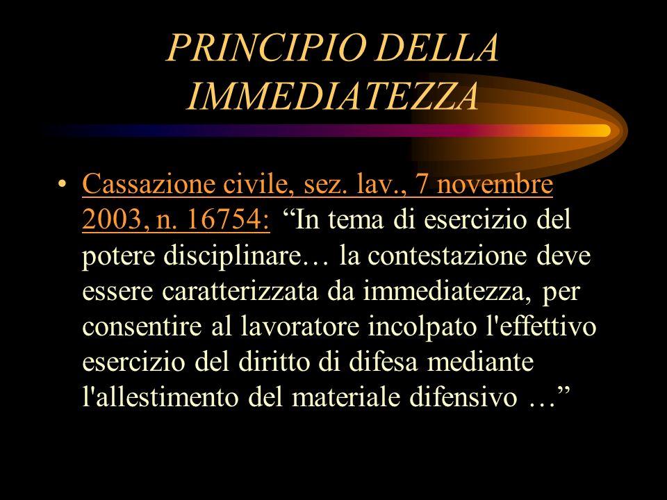 PRINCIPIO DELLA IMMEDIATEZZA