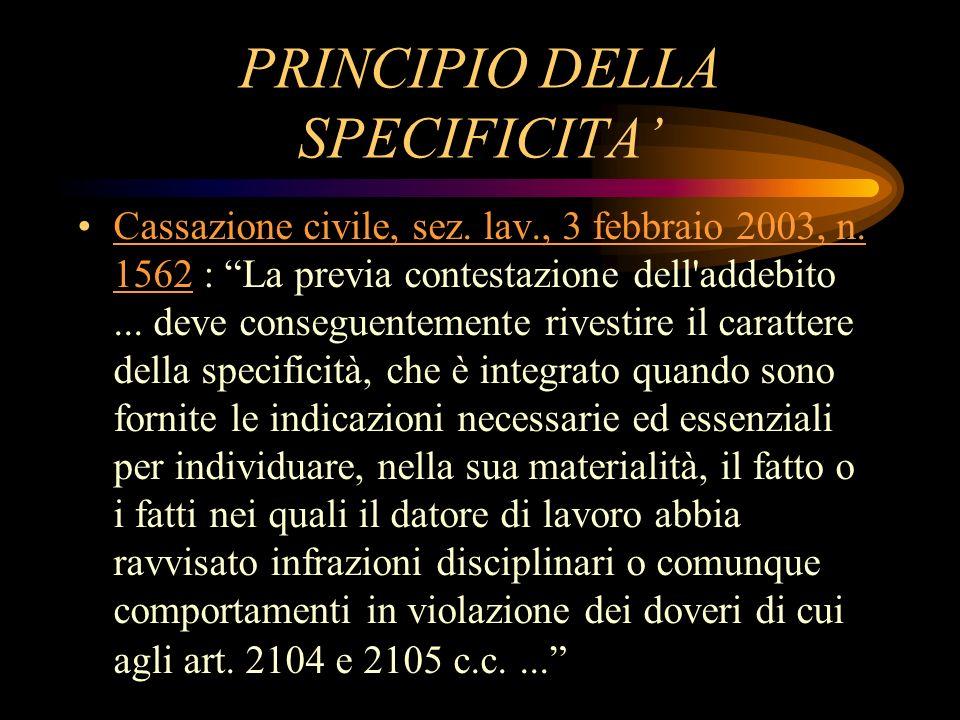 PRINCIPIO DELLA SPECIFICITA'