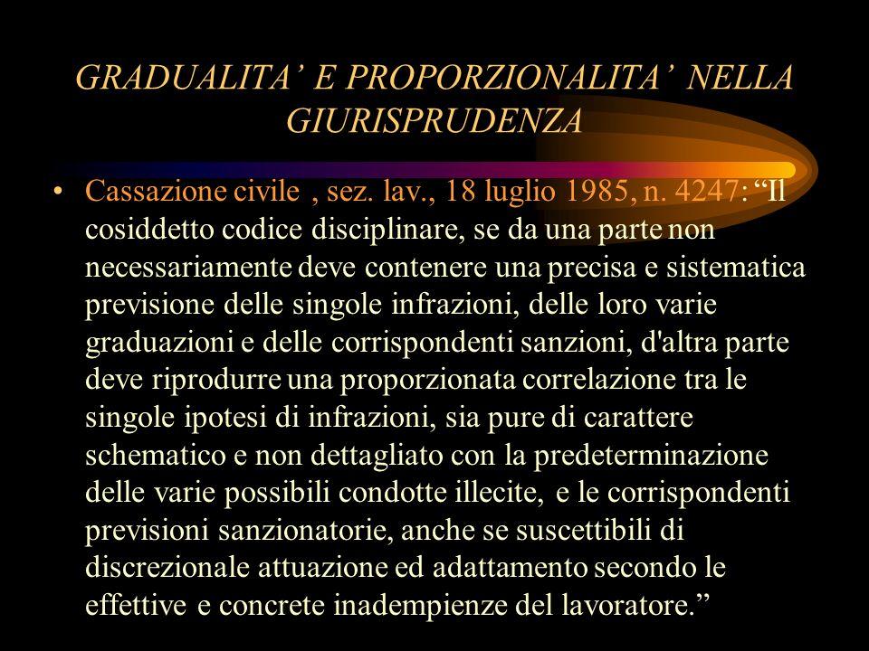GRADUALITA' E PROPORZIONALITA' NELLA GIURISPRUDENZA