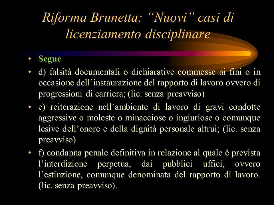 Riforma Brunetta: Nuovi casi di licenziamento disciplinare