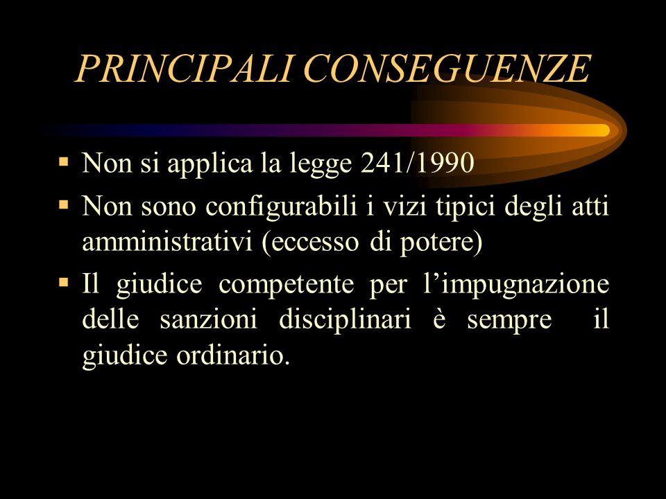 PRINCIPALI CONSEGUENZE