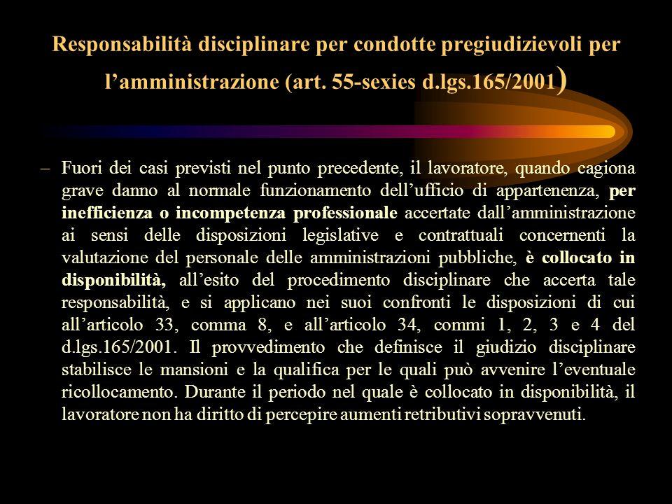 Responsabilità disciplinare per condotte pregiudizievoli per l'amministrazione (art. 55-sexies d.lgs.165/2001)