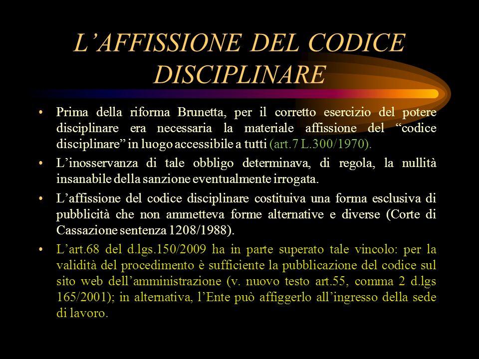 L'AFFISSIONE DEL CODICE DISCIPLINARE
