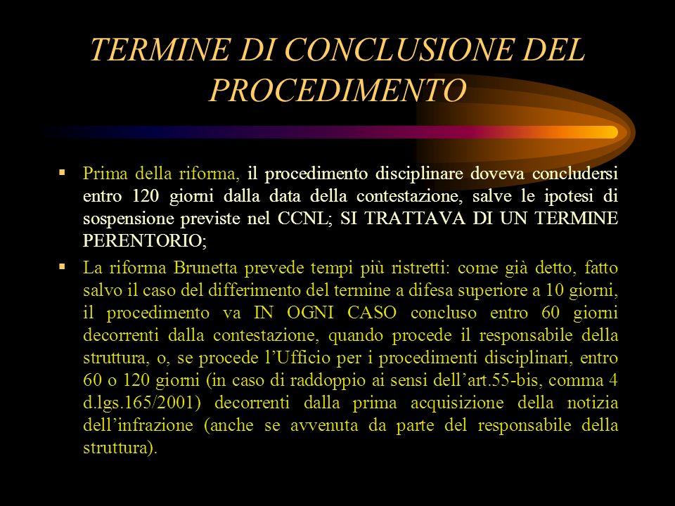 TERMINE DI CONCLUSIONE DEL PROCEDIMENTO