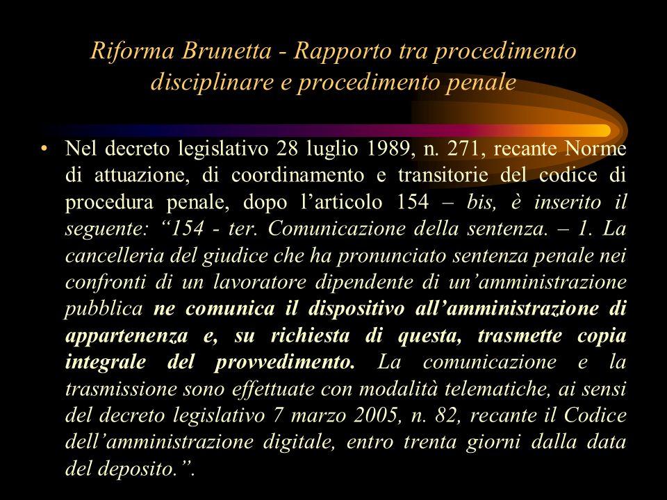 Riforma Brunetta - Rapporto tra procedimento disciplinare e procedimento penale