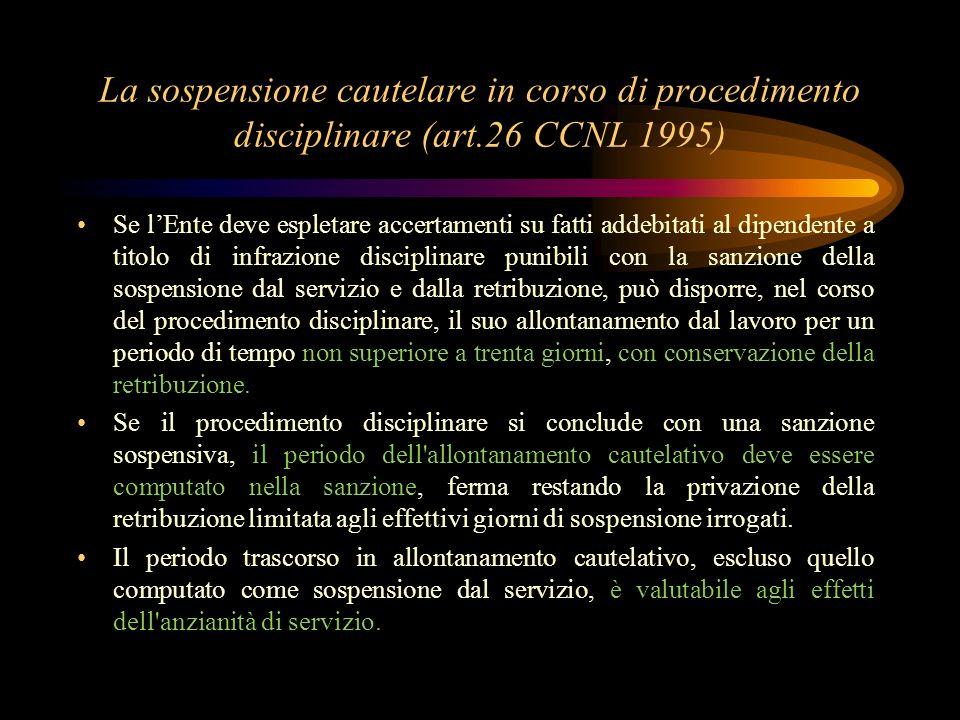 La sospensione cautelare in corso di procedimento disciplinare (art