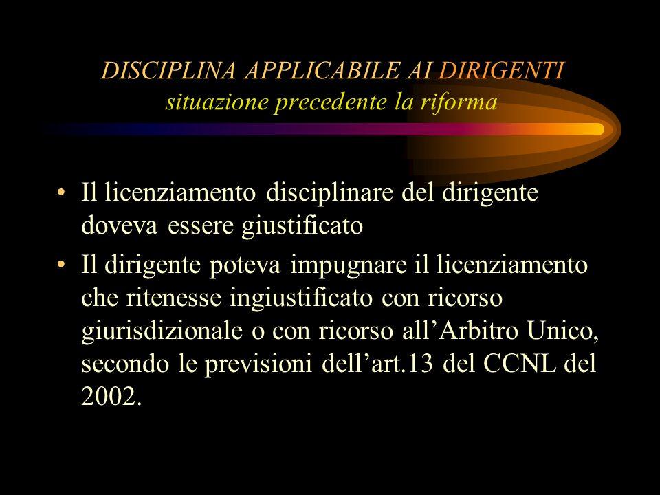 DISCIPLINA APPLICABILE AI DIRIGENTI situazione precedente la riforma