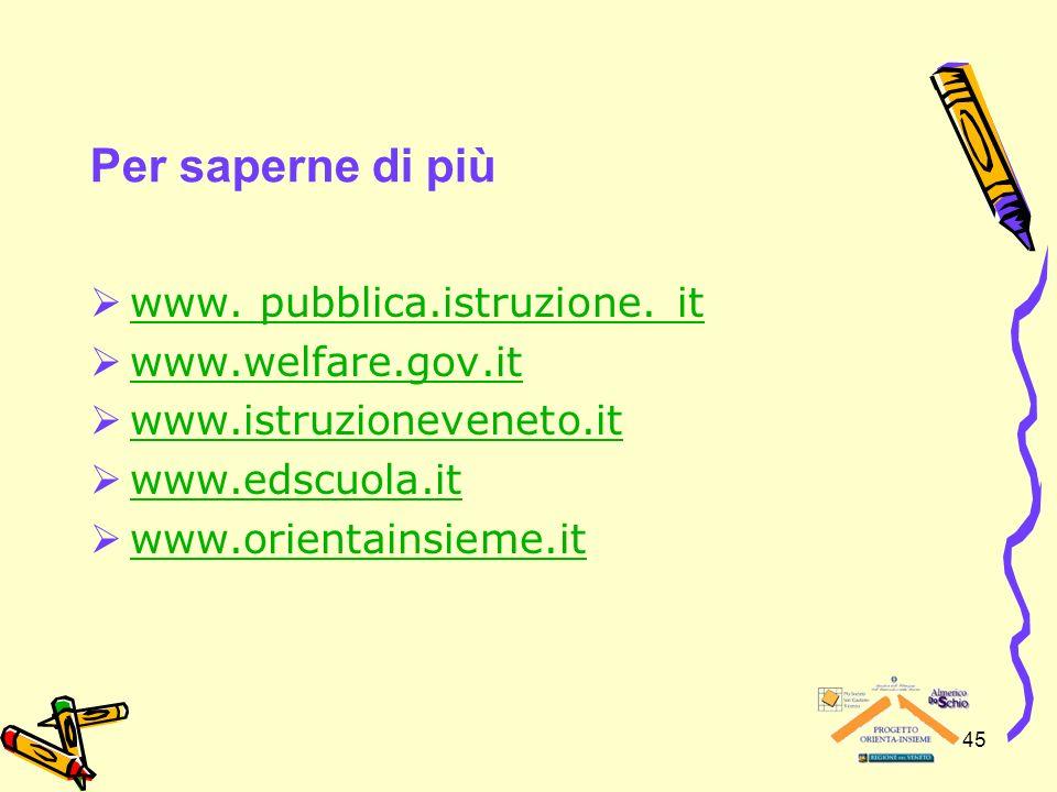 Per saperne di più www. pubblica.istruzione. it www.welfare.gov.it