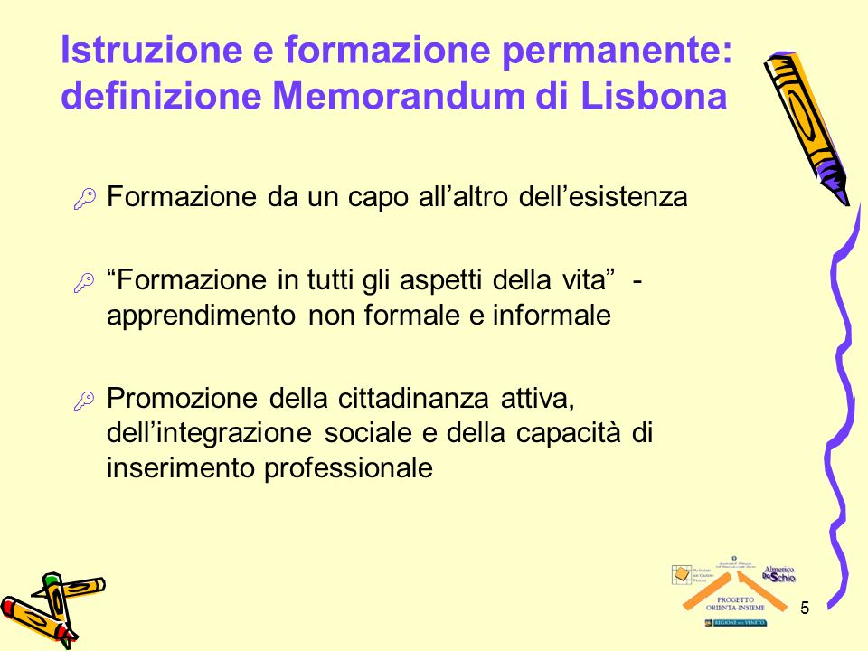 Istruzione e formazione permanente: definizione Memorandum di Lisbona