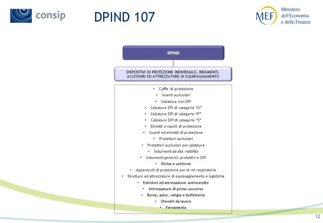 DPIND 107 DPIND. DISPOSITIVI DI PROTEZIONE INDIVIDUALE, INDUMENTI, ACCESSORI ED ATTREZZATURE DI EQUIPAGGIAMENTO.